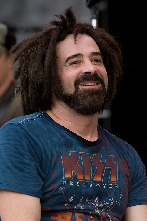 Counting Crows lead singer Adam Duritz takes a moment to relax during their set at Farm Aid 2007 on Randalls Island in New York, New York.
