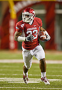 Nov 12, 2011; Fayetteville, AR, USA;  Arkansas Razorbacks running back Dennis Johnson (33) carries the ball during a game against the Tennessee Volunteers at Donald W. Reynolds Razorback Stadium. Arkansas defeated Tennessee 49-7. Mandatory Credit: Beth Hall-US PRESSWIRE