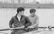 Staines, GREAT BRITAIN,   <br /> Left, Matthew BRITTIN and Jonny SEARLE.<br /> British Rowing Men's Heavy Weight Assessment. Thorpe Park. Sunday 27.02.1987,<br /> <br /> [Mandatory Credit, Peter Spurrier / Intersport-images] 1987 GBR Men's H/Weight 3rd Assessment Thorpe Park, Surrey. UK