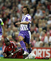 Photo: Paul Thomas.<br /> Liverpool v Toulouse. UEFA Champions League Qualifying. 28/08/2007.<br /> <br /> Pantxi Sirieix (14) gets away from Momo Sissoko of Liverpool.