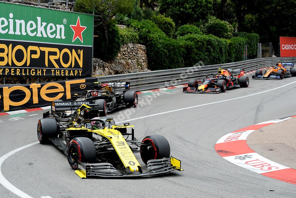 Daniel Ricciardo (Renault) leading the field during the 2019 Monaco Grand Prix. Photo: Grand Prix Photo