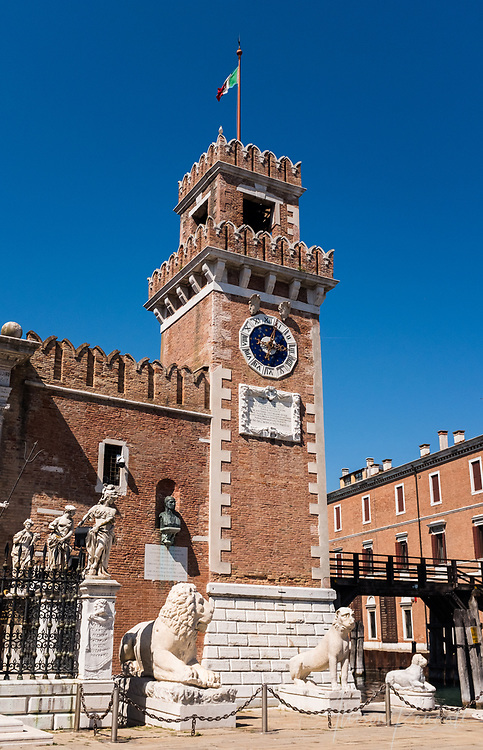 Details of the entry to the Venetian Arsenal, where sculptures of lions stand guard, in Venice, Italy