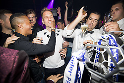 May 22, 2017 - Willebroek, BELGIUM - Anderlecht's Youri Tielemans and Anderlecht's Lukasz Teodorczyk celebrate during a party in the Carre Discotheque after Belgian soccer team RSC Anderlecht won their 34th title, Sunday 21 May 2017 in Willebroek. BELGA PHOTO JASPER JACOBS (Credit Image: © Jasper Jacobs/Belga via ZUMA Press)
