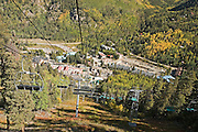 Chairlift looking downslope in fall at Taos Ski Valley, New Mexico<br />