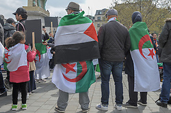 Algerians came together in Trafalgar Square in their 8th  protest against the Algerian regime. The protesters called for the immediate full resignation of the actual government and then marched to the Algerian embassy. <br /> <br /> Richard Hancox | EEm 14042019