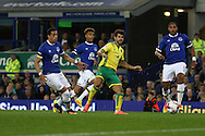 Nelson Oliveira of Norwich City shoots but sees his effort go wide of goal . EFL Cup, 3rd round match, Everton v Norwich city at Goodison Park in Liverpool, Merseyside on Tuesday 20th September 2016.<br /> pic by Chris Stading, Andrew Orchard sports photography.