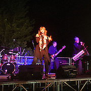Concerto dei Kargo alla festa della birra di Villamaggiore..The rock cover band Kargo during their concert in Villamaggiore