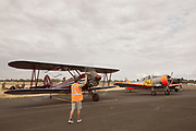 Planes prepping for flight at Warbirds Over the West.