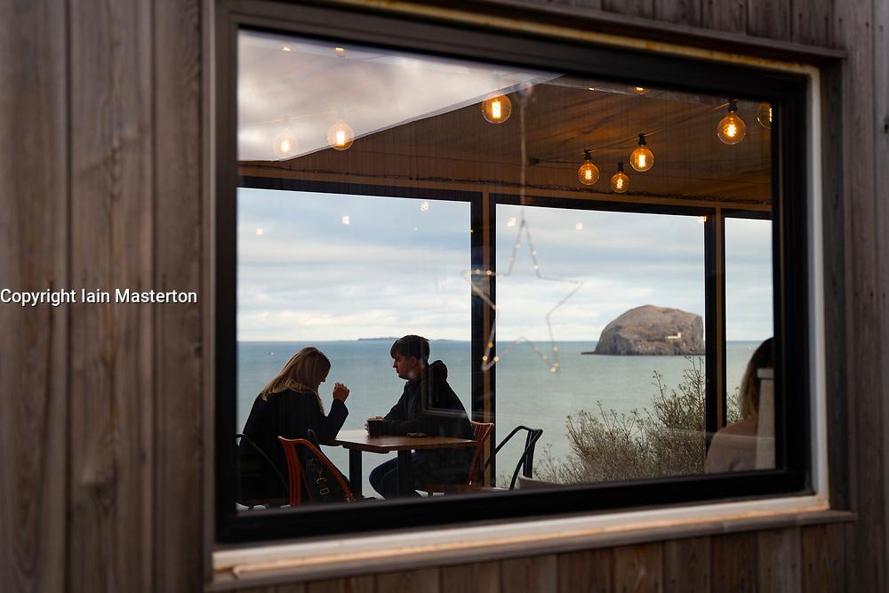 Drift cafe overlooking Bass Rock near North Berwick in East Lothian, Scotland, UK