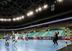 Marina Sudakova of CSKA vs Jovana Risovic of Krim Mercator during 1st Leg handball match between RK Krim Mercator (SLO) and CSKA Moscow (RUS) in the Round of 16 of Delo EHF Women's Champions League 2020/21, on March 6, 2021 in Arena Stozice, Ljubljana, Slovenia. Photo by Vid Ponikvar / Sportida
