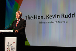 © Licensed to London News Pictures. 30/7/2013. The Prime Minister of Australia Kevin Rudd speaks during the official launch of the I.C.C Cricket World Cup to be held in Australia and New Zealand in 2015, Melbourne, Australia. Photo credit : Asanka Brendon Ratnayake/LNP