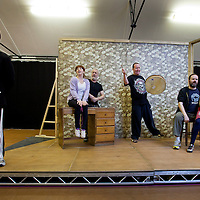 Picture shows : Johnny McKnight as Callum (l). Sally Reid as Marie, Jimmy Chisolm as Simon, Paul Riley as Fran, Greg Hemphill  as  Finlay and Ros Sydney as Morag..Rehearsal of the forthcoming National Theatre of Scotland production  An Appointment with The Wicker Man ..Picture © Drew Farrell  ( Tel : 07721-735041 )..On a remote Scottish island, the Loch Parry Theatre Players mount their am-dram version of The Wicker Man. When their lead actor goes missing in mysterious circumstances, they call on the services of a television cop from the mainland to step in and save their production. ..The play opens at the MacRobert Arts Centre, Stirling on 18th February 2012 before touring Aberdeen, Glasgow, Inverness and Dunfermline...An Appointment with the Wicker Man features Greg Hemphill (Chewin ' the Fat) and Johnny McKnight (Little Johnny's Big Gay Wedding) alongside a line-up of comic talent.  ( (It is at once a deliciously wicked homage to, and a tender celebration of, a piece of cinema history that reveals for us the spooky undercurrents lurking just below the surface of Scottish village life. ..The Loch Parry Players are messing with forces they can't possibly comprehend but at the end of the night, only one thing is for sure . . . someone's going to burn for this. (..Cast..Sean Biggerstaff    as       Howie and Rory.Jimmy Chisolm      as       Simon.Greg Hemphill        as     Finlay.Johnny McKnight   as      Callum.Sally Reid                as      Marie.Paul Riley.              as      Fran.Ros Sydney             as      Morag                   ..Written by Greg Hemphill and Donald Mcleary.Directed by Vicky Featherstone. Based on the Motion Picture The Wicker Man. Screenplay by Anthony Shaffer and the novel Ritual by David Pinner. And by Special Arrangement with StudioCanal..Picture shows .Rehearsal of the forthcoming National Theatre of Scotland production  An Appointment with The Wicker Man ..Picture © Drew Farrell  ( Tel : 07721-735041 )..On a remote Scottish