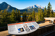 Interpretive display overlooking the Bow Valley, Cave and Basin National Historic Site, Banff National Park, Alberta, Canada