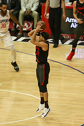 December 17, 2018 - Los Angeles, CA, U.S. - LOS ANGELES, CA - DECEMBER 17:Portland Trail Blazers Guard Seth Curry (31) shoots during the Portland Trail Blazers at Los Angeles Clippers NBA game on December 17, 2018 at Staples Center in Los Angeles, CA.. (Photo by Jevone Moore/Icon Sportswire) (Credit Image: © Jevone Moore/Icon SMI via ZUMA Press)