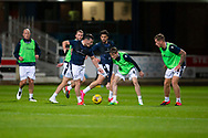 06/10/2020: Dundee FC train at Kilmac Stadium after their Betfred Cup match against Forfar Athletic was postponed due to a positive COVID test result for one of the Forfar players: Danny Mullen takes on Danny Strachan <br /> <br /> <br />  :©David Young: davidyoungphoto@gmail.com: www.davidyoungphoto.co.uk