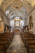 Place Gaffory church interior with altar and pews, Corte, Corsica, France