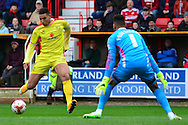 Daniel Powell lines up for a shot during the Sky Bet League 1 match between Swindon Town and Milton Keynes Dons at the County Ground, Swindon, England on 4 April 2015. Photo by Alan Franklin.