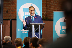 © Licensed to London News Pictures. 01/11/2019. London, UK. Brexit Party leader NIGEL FARAGE speaks to party members and supporters at The Emmanuel Centre, Westminster during their election campaign launch. Photo credit: Dinendra Haria/LNP