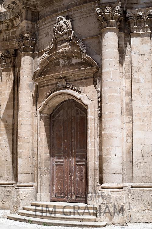 Front elevation and steps of Immacolata Church on via Della Maestranza in Ortigia, Sicily, Italy