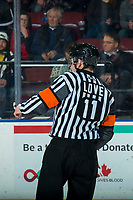 KELOWNA, BC - JANUARY 26:  Referee Bobby Jo Love stands at center ice at the Kelowna Rockets against the Vancouver Giants at Prospera Place on January 26, 2020 in Kelowna, Canada. (Photo by Marissa Baecker/Shoot the Breeze)