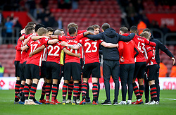 Southampton manager Ralph Hasenhuttl and the Southampton players huddle together to celebrate the result at the end of the Premier League match at St Mary's Stadium, Southampton.