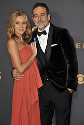 Jeffrey Dean Morgan (R) and Hilarie Burton at the 69th Annual Emmy Awards held at the Microsoft Theater on September 17, 2017 in Los Angeles, CA, USA (Photo by Sthanlee B. Mirador/Sipa USA)