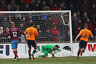 Scunthorpe United goalkeeper Matthew Gilks (1) makes a save during the EFL Sky Bet League 1 match between Scunthorpe United and Oldham Athletic at Glanford Park, Scunthorpe, England on 3 March 2018. Picture by Mick Atkins.