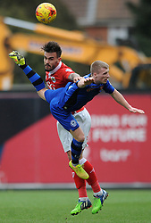 Bristol City's Marlon Pack challenges for the header with  Rochdale's Jamie Allen - Photo mandatory by-line: Dougie Allward/JMP - Mobile: 07966 386802 - 28/02/2015 - SPORT - football - Bristol - Ashton Gate - Bristol City v Rochdale AFC - Sky Bet League One