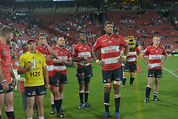 070418 Emirates Airlines Park, Ellis Park, Johannesburg, South Africa. Super Rugby. Lions vs Stormers. On the sidelines, the Lions watch the bigscreen during the closing minutes of the game.<br />
