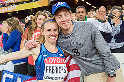 London, August 11 2017 . Courtney Frerichs, USA, poses with her husband after winning silver  in the women's 3000m steeplechase final on day eight of the IAAF London 2017 world Championships at the London Stadium. © Paul Davey.