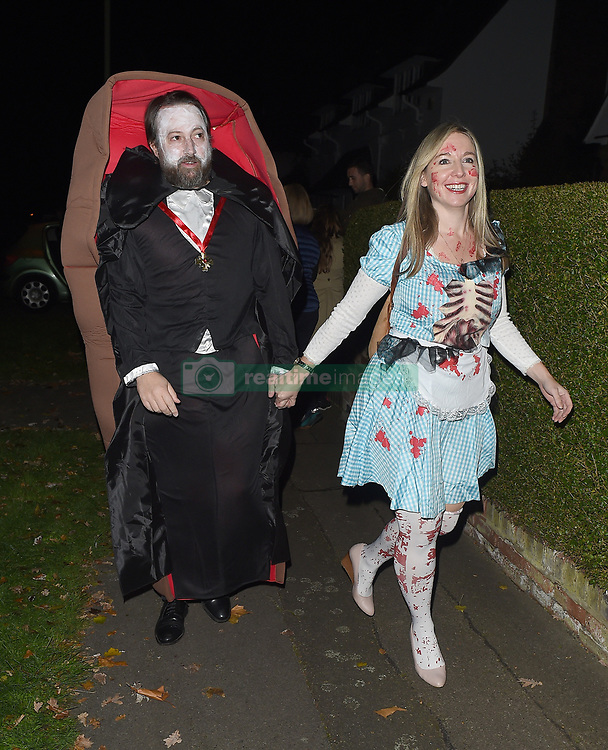 Celebrities attend an annual Halloween party, held at the Hampstead home of talk show host Jonathan Ross. 31 Oct 2017 Pictured: David Mitchell, Victoria Mitchell. Photo credit: Will / Craig / MEGA TheMegaAgency.com +1 888 505 6342