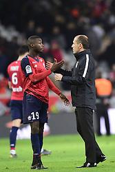 March 15, 2019 - Lille, France, FRANCE - poignee de mains entre Nicolas Pepe (Losc)  et JARDIM Leonardo - entraineur  (Credit Image: © Panoramic via ZUMA Press)
