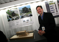 Dec 03 2007. New Orleans, Louisiana. Lower 9th Ward.<br /> Brad Pitt revisits the Lower 9th ward, devastated by Hurricane Katrina to present 'Make it Right' where architects' designs are unveiled to the public. One of the winning design Architects, Richard Maimon of Kieran Timberake Associates LLP of Philadelphia.<br /> Photo credit; Charlie Varley.