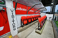 General view inside Rodney Parade stadium of the visitors dugout before the The FA Cup match between Newport County and Middlesbrough at Rodney Parade, Newport, Wales on 5 February 2019.