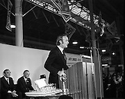 1973.5/1/73.1/5/73.5th January 1973 .The Aer Lingus Young Scientist Exhibition at the RDS, Dublin ..Michael O'Kennedy, T.D. Minister for Transport and Power speaking at the ninth annual Young Scientist Exhibition.   ..