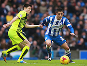 Brighton striker Anthony Knockaert gets the better of Huddersfield Town midfielder Joe Lolley during the Sky Bet Championship match between Brighton and Hove Albion and Huddersfield Town at the American Express Community Stadium, Brighton and Hove, England on 23 January 2016. Photo by Bennett Dean.