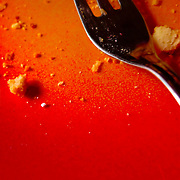 Orange plate with cake breadcrumbs