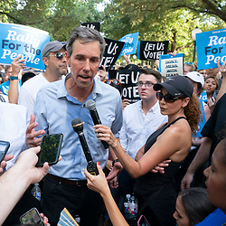 Former Congressman and presidential candidate BETO O'ROURKE answers press question after a thousand Texas Democrats rally at the State Capitol supporting voting rights bills stalled in Congress and decrying Republican efforts to thwart voter registration and access to the polls.