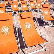 PARIS, FRANCE June 13.   Roland Garros deck chairs in a big screen viewing area int he grounds of Roland Garros at the 2021 French Open Tennis Tournament at Roland Garros on June 13th 2021 in Paris, France. (Photo by Tim Clayton/Corbis via Getty Images)