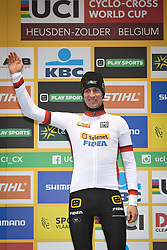 December 26, 2018 - Heusden-Zolder, BELGIUM - Belgian Toon Aerts wearing the jersey of leader in the overall ranking pictured on the podium after the men Elite race of the seventh stage (out of nine) in the World Cup cyclocross, Wednesday 26 December 2018 in Heusden-Zolder, Belgium. BELGA PHOTO DAVID STOCKMAN (Credit Image: © David Stockman/Belga via ZUMA Press)