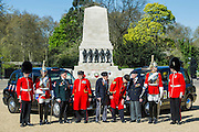 Guardsman Euan Jones, 20, Tpr Oliver Wain, 24, Rick Forest, 89 D-day, Reginald Widerspoon, 90, Charles Jeffries, 93 D-day/Dessert Rat, John Cuthbert, 92, Peter Kent, 90 Royal Navy, Tpr Joel Robinson, 20, L Cpl Stephen Hubball, 25 (L to R) - Second World War Veterans, Reg Wilderspin (89) and John Cuthbert (92), and serving Guardsmen on Horse Guards Parade Ground to highlight Royal British Legion events on Victory in Europe (VE) Day. The Legion is also announcing that veterans and their carers will receive funding towards attending the event on the weekend of the 8-10th May.<br /> <br /> Places will be available for a series of commemorative events over the weekend including on VE Day itself, Friday 8 May, when a Service of Remembrance will be held at The Cenotaph, with a national two minute silence at 3pm. On Sunday 10 May, there will a Service of Thanksgiving at 11am at Westminster Abbey attended by HM The Queen, followed by a parade from the Abbey to Horse Guards Parade and into St James's Park, where the Legion will host a lunch reception for the veterans.