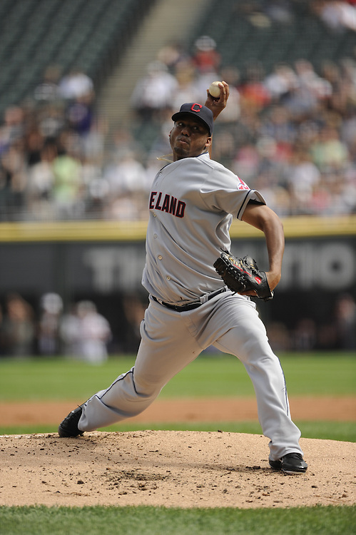 CHICAGO - SEPTEMBER 10:  Fausto Carmona #55 of the Cleveland Indians pitches against the Chicago White Sox on September 10, 2011 at U.S. Cellular Field in Chicago, Illinois.  The White Sox defeated the Indians 7-3.  (Photo by Ron Vesely)   Subject: Fausto Carmona..