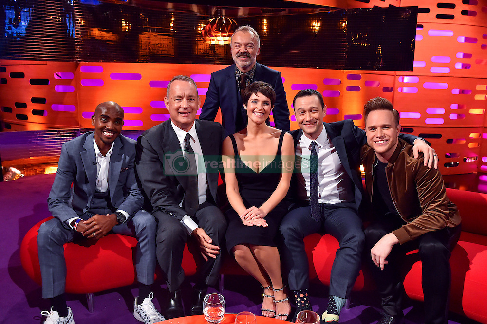 (left to right) Mo Farah, Tom Hanks, Gemma Arterton Joseph Gordon-Levitt and Olly Murs pictured with host Graham Norton (behind) during filming of the Graham Norton Show at The London Studios, south London, to be aired on BBC One on Friday evening.