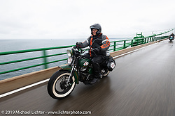 Pat Patterson riding his 1946 Harley-Davidson Flathead in the \Cross Country Chase motorcycle endurance run from Sault Sainte Marie, MI to Key West, FL. (for vintage bikes from 1930-1948). Stage 1 from Sault Sainte Marie to Ludington, MI USA. Friday, September 6, 2019. Photography ©2019 Michael Lichter.
