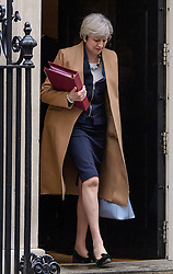 © Licensed to London News Pictures. 08/03/2017. London, UK. Prime minister THERESA MAY leaves 10 Downing Street before Chancellor of the Exchequer Philip Hammond delivers his 2017 Budget to Parliament. Photo credit: Ben Cawthra/LNP
