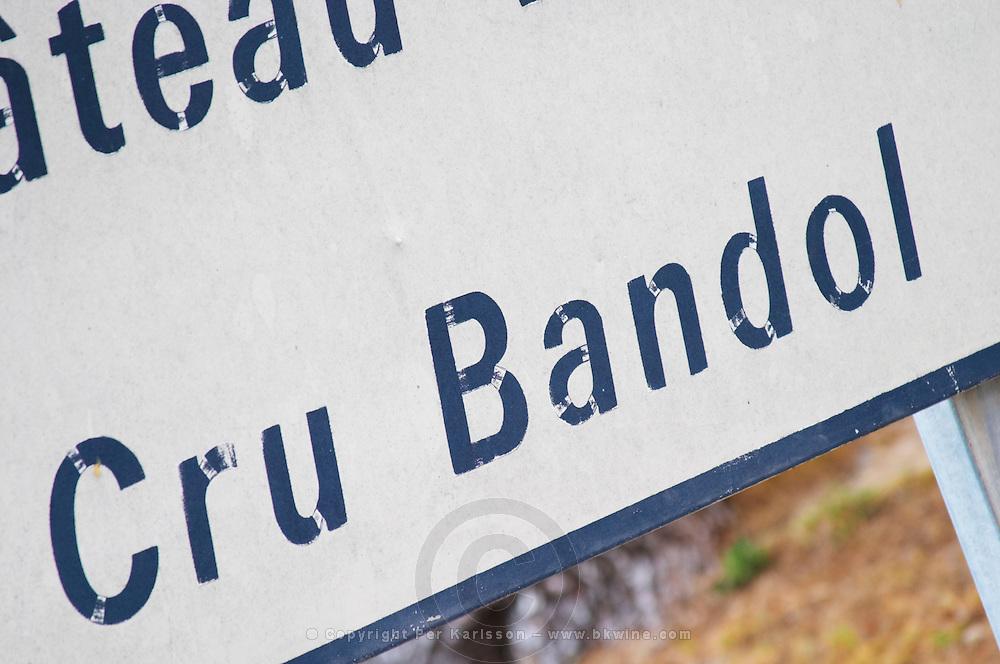 Sign with the text Cru Bandol, detail Chateau Vannieres (Vannières) La Cadiere (Cadière) d'Azur Bandol Var Cote d'Azur France