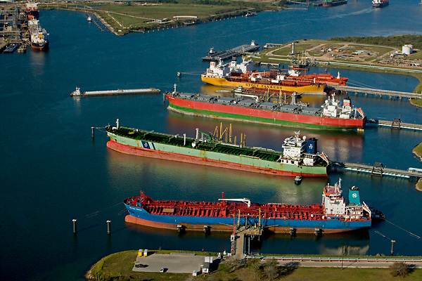 Aerial view of docked tankers in the Port of Houston