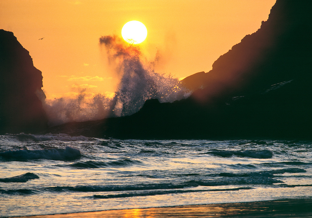 A wave breaks under the sun at Heceta Head on the Oregon coast. ©Ric Ergenbright