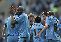 Photo: Lee Earle.<br /> Coventry City v Barnsley. Coca Cola Championship. 17/03/2007.Coventry's Dele Adebola (L) celebrates after scoring their third goal.