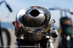 Shinya Kimura's Crystal Trophy Chabott Engineering custom 1978 / 2018 Yamaha SR at the docks early on setup day for 27th Annual Mooneyes Yokohama Hot Rod Custom Show 2018. Yokohama, Japan. Saturday, December 1, 2018. Photography ©2018 Michael Lichter.